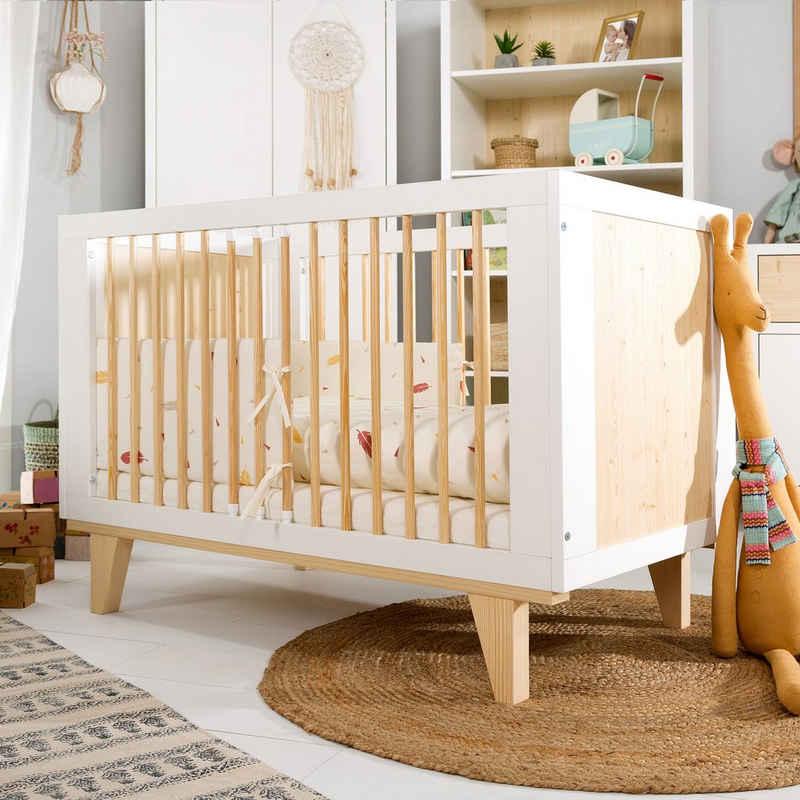 Kids Collective Babybett »60x120cm«, dreifach höhenverstellbar, herausnehmbare Sprossen, handgefertigtes Kinderbett, Made in Europe, optional mit Matratze