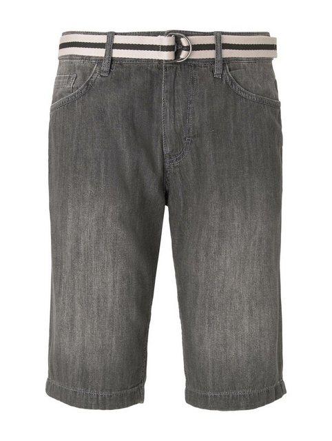 TOM TAILOR Loose-fit-Jeans »Josh Regular Slim Jeans-Shorts mit Gürtel« | Bekleidung > Jeans > Loose Fit Jeans | Tom Tailor