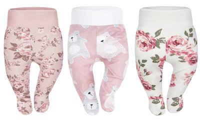 Divita-Mode Jogginghose »Baby Strampelhose Mädchen Jungs Hose mit Füßen« (3-tlg)