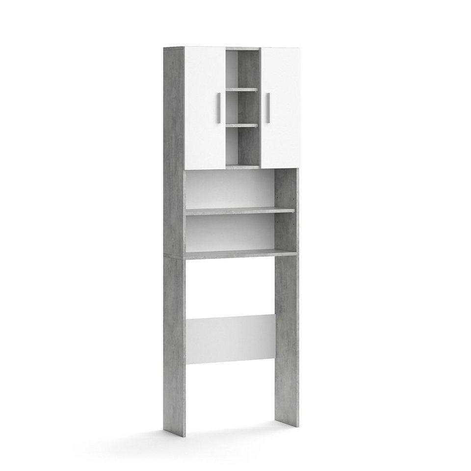 Vicco Waschmaschinenumbauschrank »Waschmaschinenschrank LUIS 20x20cm Weiß  Beton Badschrank Hochschrank« online kaufen   OTTO