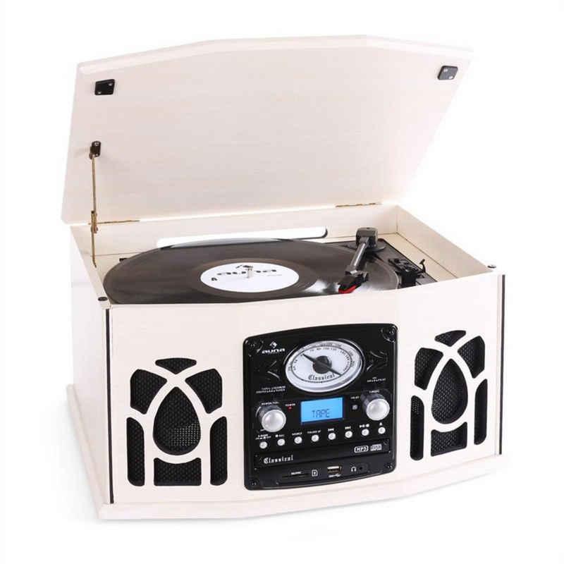 Auna »NR-620 Stereoanlage Plattenspieler MP3-Aufnahme Holzgehäuse creme« Plattenspieler