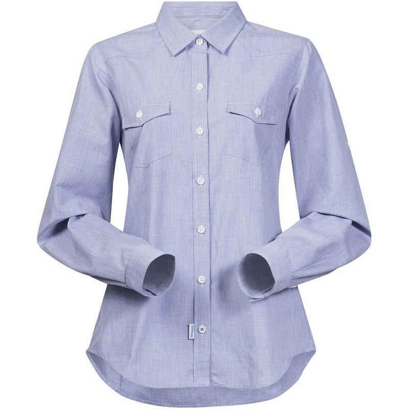 Bergans Hemdbluse »Bergans Shirt klassische Trekking-Bluse Damen Hemd-Bluse Justoy Buisenss-Bluse Blau«
