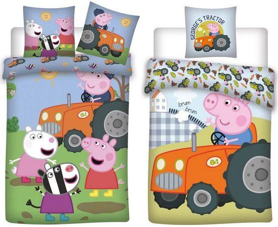 Kinderbettwäsche »Peppa Wutz Pig - 2 x Traktor-Bettwäsche-Set für Jungen, 135x200 & 80x80 cm«, Peppa Pig, 100% Baumwolle