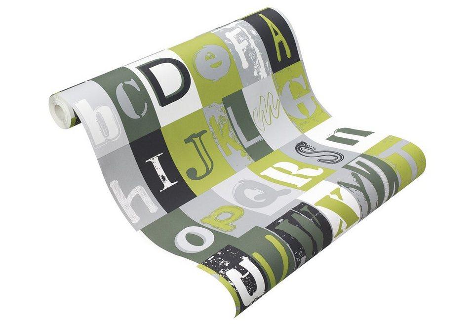 Papiertapete, Rasch , »Letters« in grün