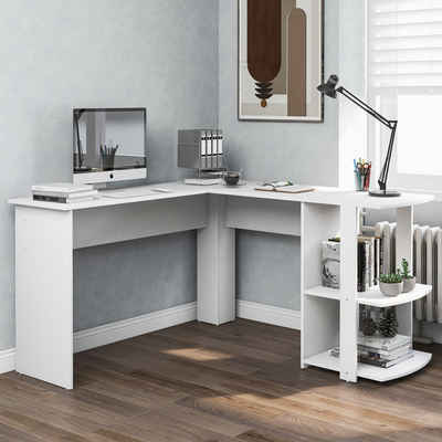Flieks Eckschreibtisch »Inspiration«, L-förmiger Computertisch Bürotisch mit 2 Ablagen