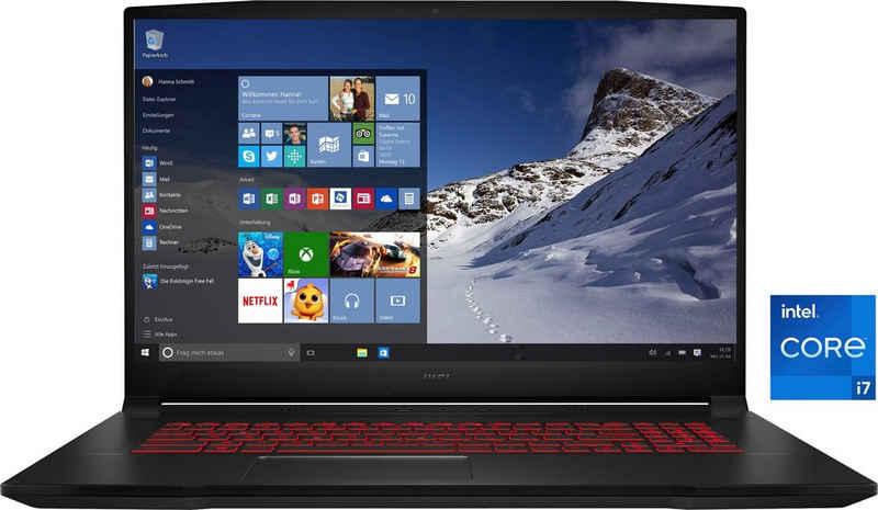 MSI Katana GF76 11UC-083 Gaming-Notebook (43,9 cm/17,3 Zoll, Intel Core i7 11800H, GeForce RTX™ 3050, 512 GB SSD, Kostenloses Upgrade auf Windows 11, sobald verfügbar)