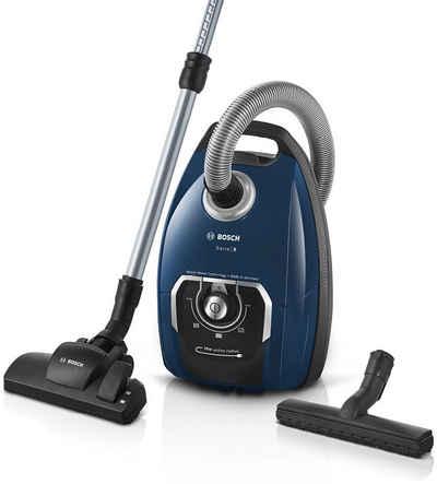 BOSCH Bodenstaubsauger BGB75X494, Serie 8, blau, 650 Watt, mit Beutel, inkl. Hartbodendüse, extra langes Kabel, leise