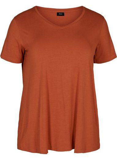 Zizzi T-Shirt Große Größen Damen Schlichtes T-Shirt mit V Ausschnitt und kurzen Ärmeln