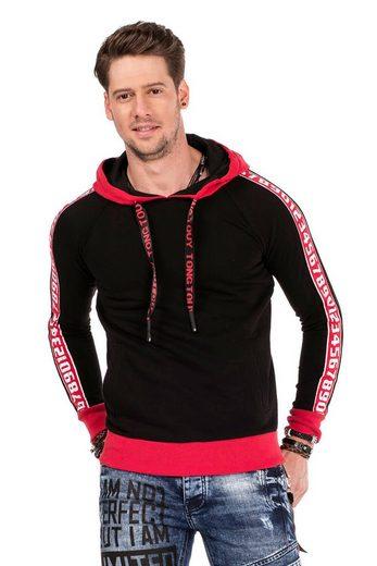 Cipo & Baxx Kapuzensweatshirt »Digits« mit Logo Streifen