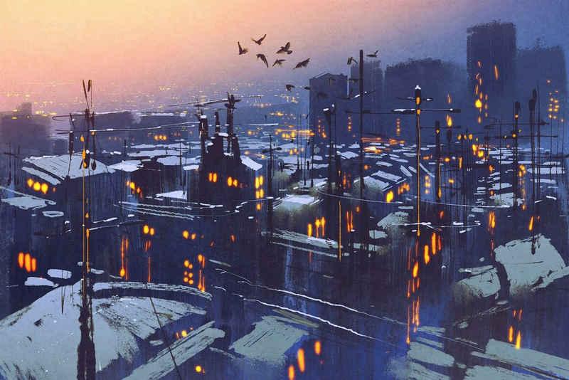 queence Leinwandbild »Stadt bei Nacht«