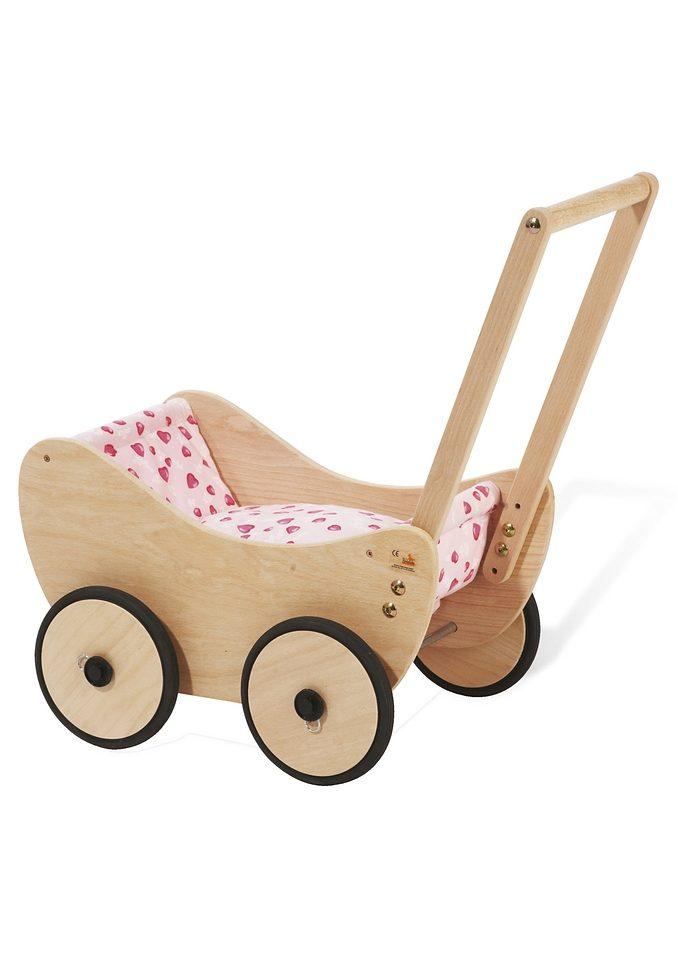 Pinolino Puppenwagen aus Holz mit Bettzeug »Trixi - Herzchen«