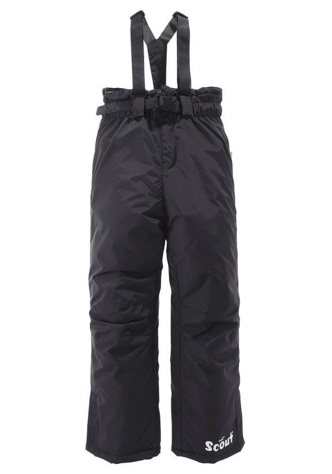 Scout Schneelatzhose mit abnehmbaren Gürtel und Hosenträgern in schwarz