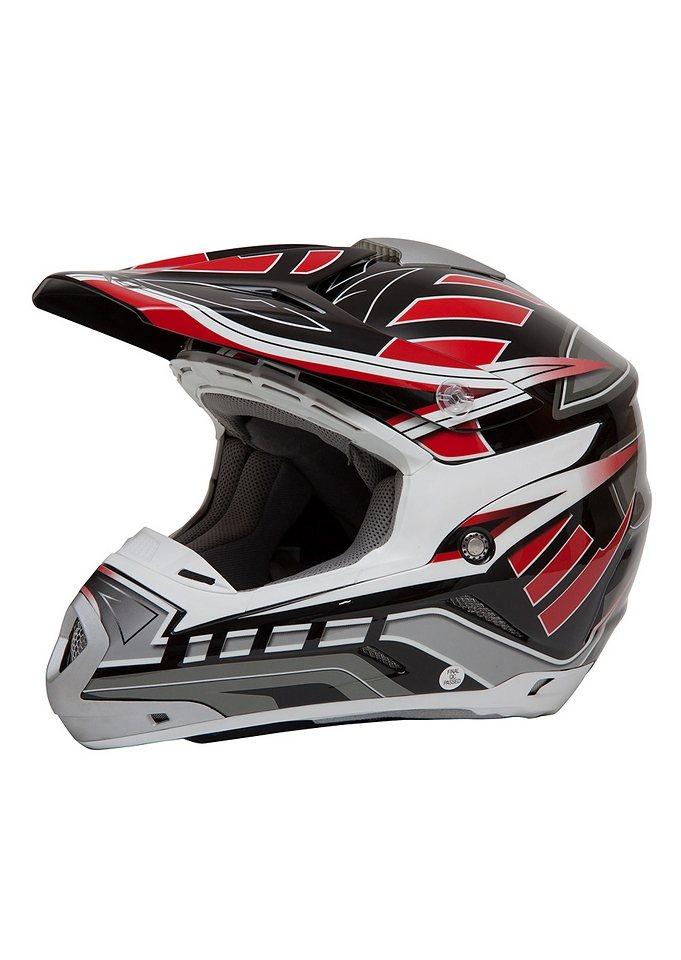 Motocross Helm, Saiko, für Moped, Roller und Motorradfahrer, rot, unisex in rot