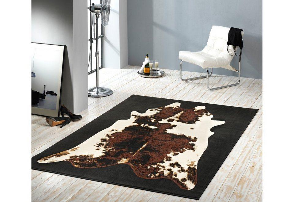 Läufer, Hanse Home, »Kuhfell-Teppich Moss«, gewebt in schwarz braun creme