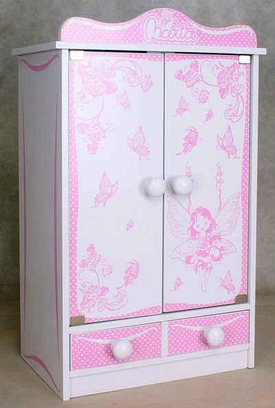 habeig Puppenkleiderschrank »Kinderschrank #822 Kleiderschrank 52 cm hoch Wandschrank Hängeschrank weiß 2 Türen Puppenschrank …«