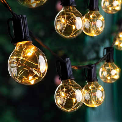 Luxear LED-Lichterkette, Luxear Erweiterbar 9,8M LED Lichterkette Außen, 30er IP65 G40 Glühbirnen E12 Warmweiß+1 Ersatzglühlampe, 155 LEDs, Outdoor/Indoor Dekolicht mit Stecker für Party Garten Balkon Terrasse Hof Zelt Café