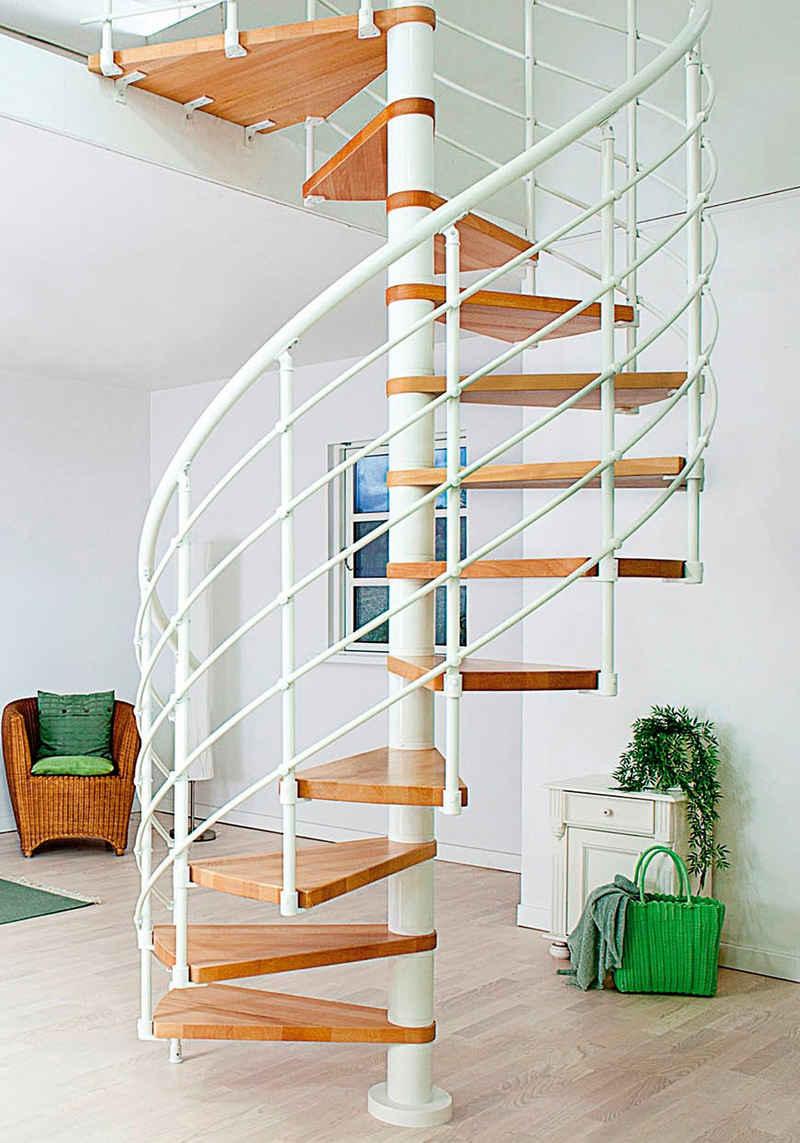 Dolle Spindeltreppe »Oslo«, für Geschosshöhen bis 276 cm, Stufen offen, Buche, Ø: 120 cm