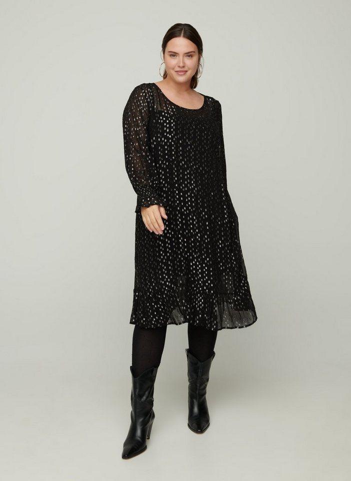 Festtagsmode - Zizzi Abendkleid Große Größen Damen Langarm Kleid aus Viskose mit Rundhalsausschnitt ›  - Onlineshop OTTO