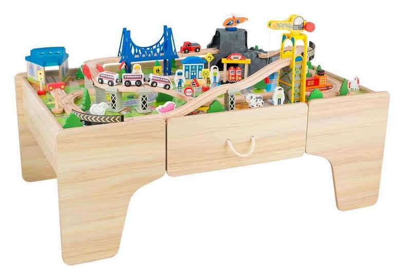 Coemo Spielzeugeisenbahn-Set, Spur Klein, Set: Spieltisch und 100 tlg. Holzeisenbahn