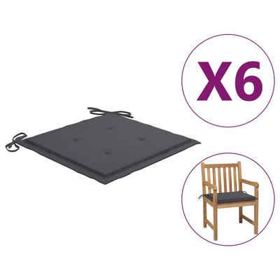 vidaXL Sitzkissen »vidaXL Gartenstuhl-Sitzkissen 6 Stk. Anthrazit 50x50x4 cm Stoff«
