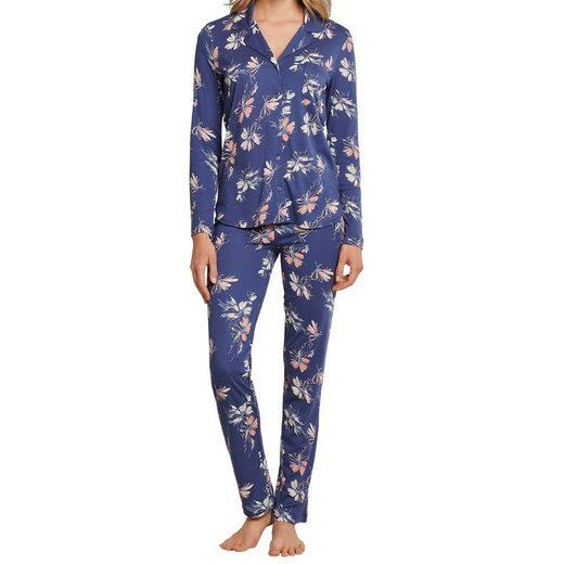 Schiesser Schlafanzug »Damen Pyjama lang« Im klassischen Look, Angenehm auf der Haut, Mit feinen Details