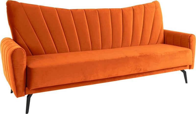 Leonique Schlafsofa »Chiara«, mit feiner Steppung mit Schlaffunktion durch Klappbarkeit, in vielen Bezugsqualitäten und Farben