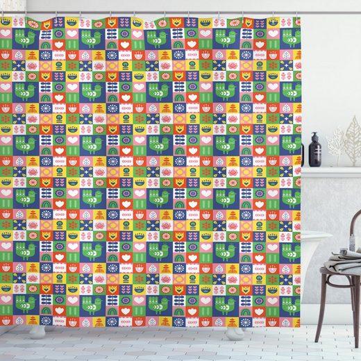 Abakuhaus Duschvorhang »Moderner Digitaldruck mit 12 Haken auf Stoff Wasser Resistent« Breite 175 cm, Höhe 180 cm, norwegisch Vögel und Blumen Retro