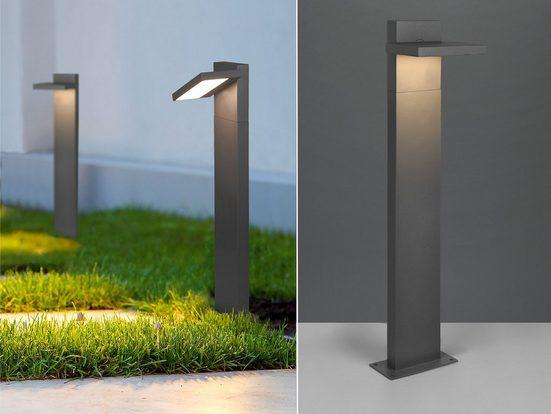 meineWunschleuchte LED Sockelleuchte, 2er Set Wegebeleuchtung für Außen Outdoor Stehlampe schwenkbar Garten Terrassen-Leuchte, Anthrazit 50cm