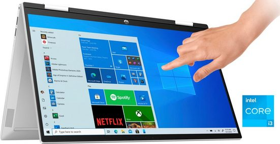 HP Pavilion x360 15-er0032ng Convertible Notebook (39,6 cm/15,6 Zoll, Intel Core i3, GeForce MX450, 256 GB SSD, Kostenloses Upgrade auf Windows 11, sobald verfügbar)