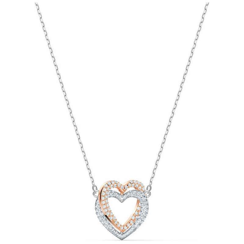 Swarovski Kette mit Anhänger »Swarovski Halskette 5518868 Infinity Heart, weiss,« (kein Set, inkl. Schmuckbox)