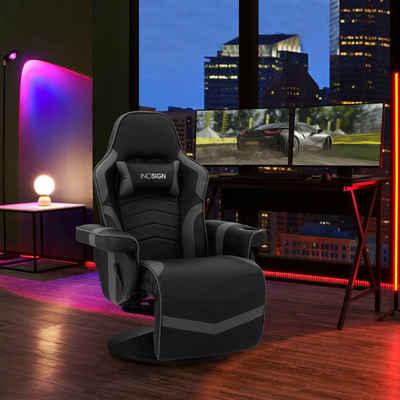 INOSIGN Relaxsessel »Liljana«, im Gaming Chair Design, mit mechanischer Relaxfunktion, integrierte Fußstütze, Getränkehalter in der rechten Armlehne, Drehfunktion, 1 Kissen zur Kopfstütze, schwarzes Massivholzgestell, Sitzhöhe 47 cm