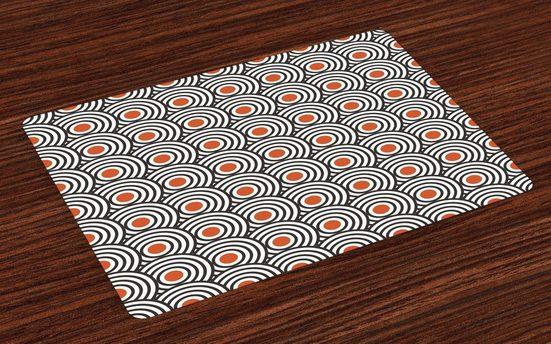 Tischdecke, »Waschbare Stoff Esszimmer Küche Tischdekorations Digitaldruck«, Abakuhaus, (4-teilig, 4 Teilig-St., Set aus 4x), Schwarz Abstrakte Retro Spiralen