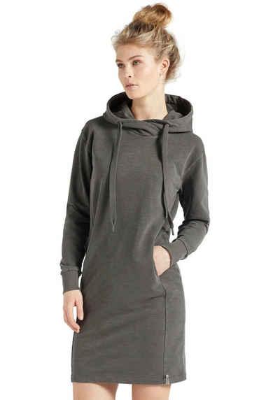 khujo Sweatkleid »HALOUMA« Shirtkleid mit coolen Cross Over Kragen und Kapuze