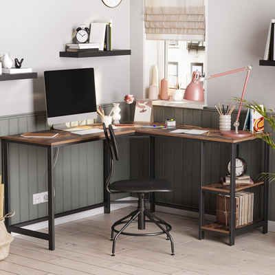 VASAGLE Schreibtisch »LWD72X LWD72MB«, L-förmiger Computertisch, Eckschreibtisch, vintage
