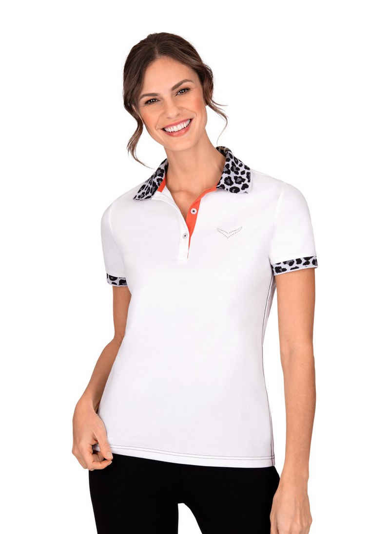 Trigema Poloshirt mit Jacquard-Flachstrickkragen