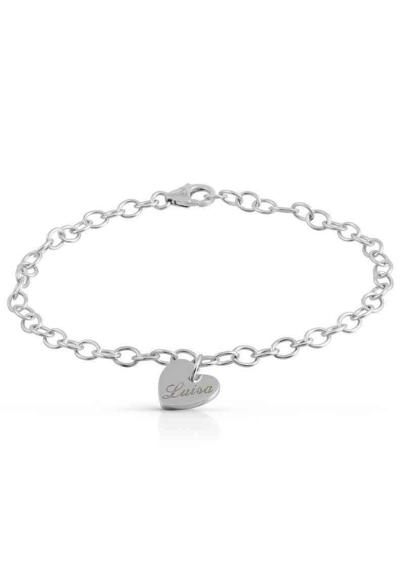 Firetti Silberarmband »Herz mit Gravur, personalisiert, glanzvoll, rhodiniert«