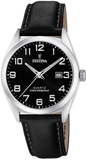 Festina Chronograph »UF20446/3 Festina Herren Uhr F20446/3 Quarz Leder«, (Analoguhr), Herren Armbanduhr rund, Lederarmband schwarz