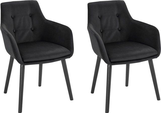 Stühle und Bänke - Armlehnstuhl »Bradford« (1 oder 2 Stück), Bezug in Samtsoff, Gestell aus Eiche Massivholz  - Onlineshop OTTO