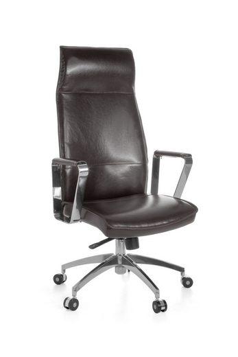 FINEBUY Chefsessel »SuVa1064_1«, Bürostuhl OLGA Chefsessel Schreibtischstuhl Drehstuhl Bürosessel Echtleder