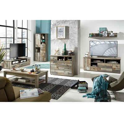 Lomadox Wohnzimmer-Set »BRANSON-36«, (Mega-Spar-Set, 6-tlg), Wohnzimmer Komplett Set Driftwood braun Industrial Design