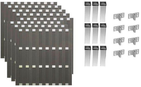 TETZNER & JENTZSCH Set: Bohlenzaun »Jackson 6«, 8 Elemente, LxH: 1503x180 cm