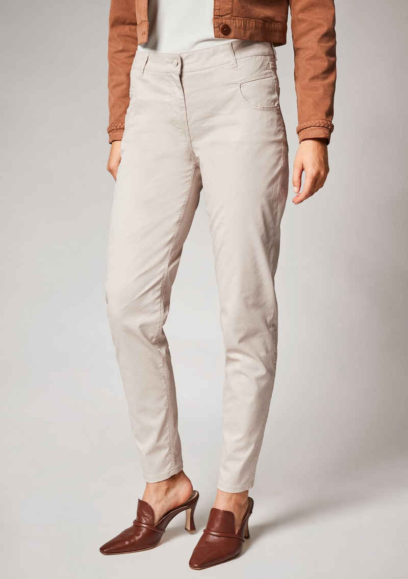 Comma 7/8-Jeans »Skinny: Beschichtete Chintz-Hose« Leder-Patch