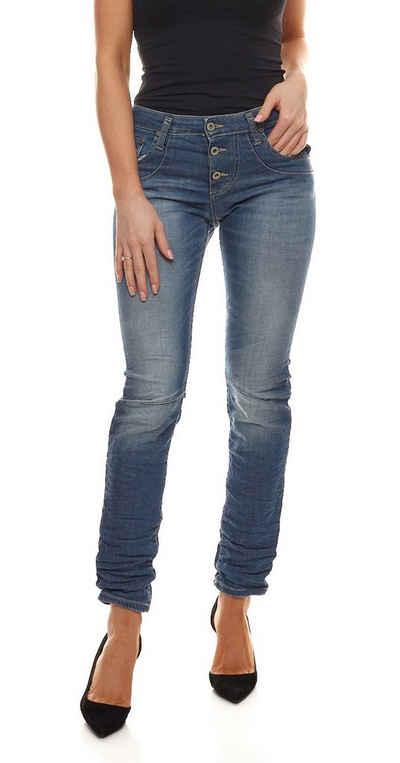PLEASE Regular-fit-Jeans »PLEASE P78 Straight Cut Jeans weiche Damen Denim-Hose Freizeit-Hose Blau Used«