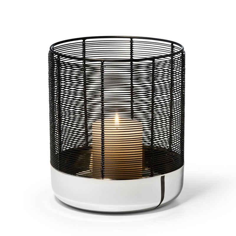 PHILIPPI Windlicht »Luna; Aus hochglanzpoliertem Nickel und pulverbeschichtetem Stahldraht; Silber / Schwarz«