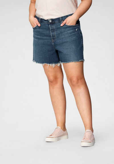 Levi's® Plus Destroyed-Jeans »501 Original Short« mit ausgefranstem Saum