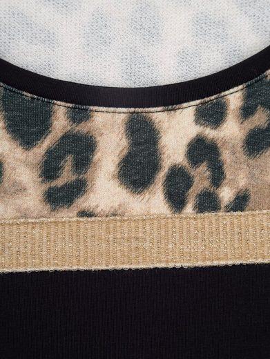 Amy Vermont Sweatshirt mit Zierband und Schriftzug