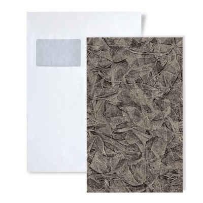 Edem Prägetapete »S-9086-29«, schimmernd, unifarben, Strukturmuster, (1 Musterblatt, ca. A5-A4), grau, silber, platin