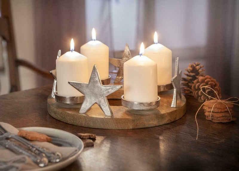 Home-trends24.de Adventskranz »Adventskranz Stern Holz Advent Gesteck Teelichhalter Kerzenhalter Weihnachten Deko Weihnachtsdeko«