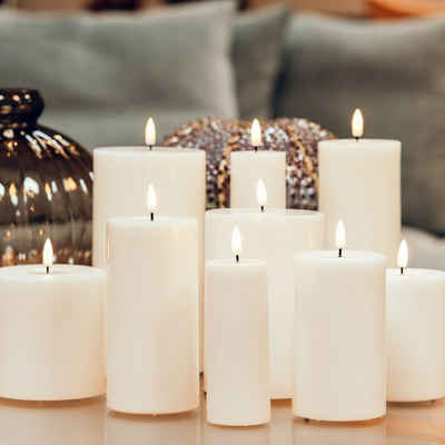 Deluxe Homeart LED-Kerze »LED Stumpenkerze MIA outdoor Kunststoff realistische 3D Flamme H: 15cm weiß«