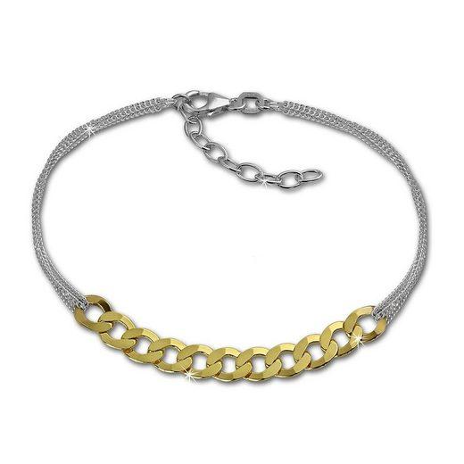 SilberDream Silberarmband »SDA2138Y SilberDream Armschmuck 18cm silber gold« (Armbänder), Armbänder für Damen 925 Sterling Silber, vergoldet (Gelbgold 333), Made-In Germany